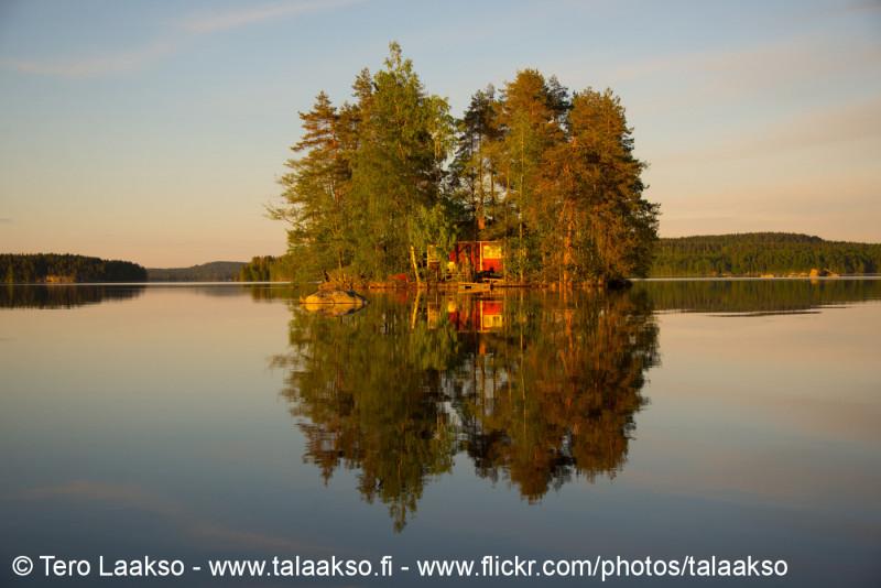 Sunset reflection. Lake Kukkia, Luopioinen, Finland. 24.5.2018